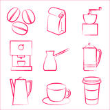Iconos de Coffe Foto de archivo