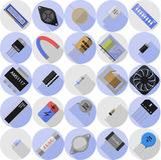 Iconos de componentes electrónicos Fotos de archivo