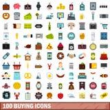 100 iconos de compra fijados, estilo plano Fotos de archivo libres de regalías