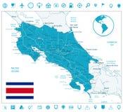 Iconos de Costa Rica Map y de la navegación ilustración del vector