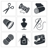Iconos de costura de la fabricación de ropa fijados Imagen de archivo libre de regalías