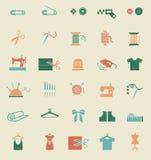 Iconos de costura del equipo y de la costura Imagen de archivo libre de regalías
