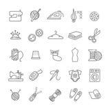 Iconos de costura del equipo y de la costura fijados Foto de archivo libre de regalías