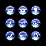 Iconos de cristal azules Imágenes de archivo libres de regalías