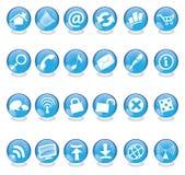 Iconos de cristal azules Imagenes de archivo