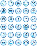Iconos de cristal azules del Web, botones Stock de ilustración