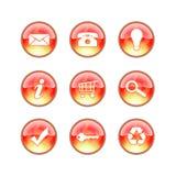 Iconos de cristal del fuego del Web site Imagen de archivo libre de regalías