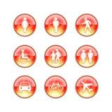 Iconos de cristal del fuego del Web site Fotos de archivo libres de regalías