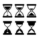 Iconos de cristal del reloj de la arena fijados Vector Imagenes de archivo
