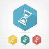 Iconos de cristal del reloj de la arena plana del vector fijados Imagen de archivo