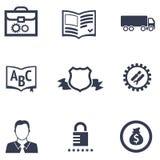 Iconos de diversas compañías con su especialización stock de ilustración