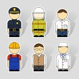 Iconos de diversas profesiones Imágenes de archivo libres de regalías