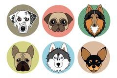 Iconos de diversas razas de perros Imágenes de archivo libres de regalías
