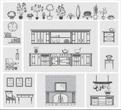 Iconos de diversos elementos de la cocina Fotos de archivo libres de regalías