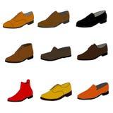 Iconos de diversos zapatos del color trama Fotos de archivo libres de regalías
