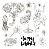 Iconos de Diwali fijados ilustración del vector