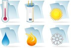 Iconos de documento del calentador de agua Imagen de archivo libre de regalías