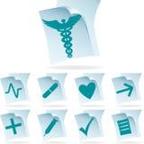 Iconos de documento médicos Fotos de archivo