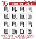 Iconos de documento negros del vector Ilustración del Vector