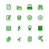 Iconos de documento verdes Stock de ilustración