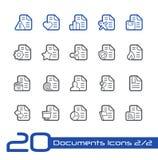 Iconos de documentos - sistema 2 de la línea serie de 2 // Imágenes de archivo libres de regalías