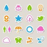 Iconos de Eco fijados. Fotos de archivo