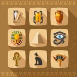 Iconos de Egipto y elementos del diseño ilustración del vector