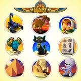 Iconos de Egipto y elementos del diseño Fotos de archivo libres de regalías