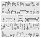 Iconos de elementos interiores Imagen de archivo libre de regalías