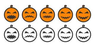 Iconos de Emoji de la calabaza de Halloween stock de ilustración
