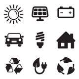 Iconos de energía solar Imagen de archivo libre de regalías