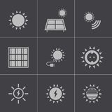 Iconos de energía solar negros del vector fijados Imagen de archivo