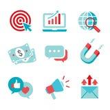 Iconos de entrada del vector del márketing con CTA, crecimiento, SEO, el etc ilustración del vector
