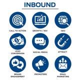 Iconos de entrada del vector del márketing con CTA, crecimiento, SEO, el etc stock de ilustración