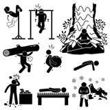Iconos de entrenamiento físicos del ermitaño y mentales extremos de Cliparts Imagen de archivo libre de regalías