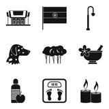 Iconos de entrenamiento fijados, estilo simple de los extractos ilustración del vector