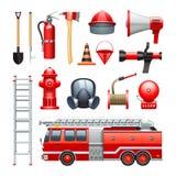 Iconos de Equipment And Machinery del bombero fijados Imágenes de archivo libres de regalías