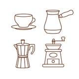 Iconos de fabricación y de consumición del café del equipo libre illustration