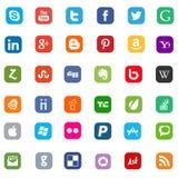 Iconos de Facebook, de Twitter, de Skype, de youtube y de Google Fotos de archivo