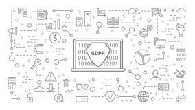 Iconos de GDPR fijados libre illustration