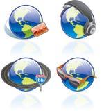 Iconos de The Globe fijados - elementos 54b del diseño Foto de archivo libre de regalías