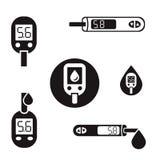 Iconos 08 A de Glucometer de la diabetes Fotos de archivo libres de regalías
