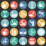 Iconos de GMO fijados en el fondo negro de los círculos de color para el gráfico y el diseño web Muestra simple del vector Símbol ilustración del vector