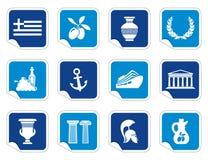 Iconos de Grecia en etiquetas engomadas libre illustration