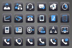 24 iconos de Grey Call Center Communication Button ilustración del vector