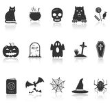 Iconos de Halloween con la reflexión Imágenes de archivo libres de regalías