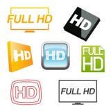 Iconos de Hd fijados Imagenes de archivo
