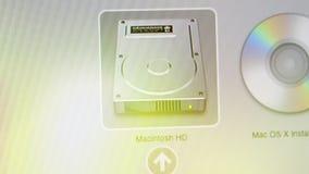 Iconos de HDD y del DVD en MaOS de Apple en los ordenadores de iMac metrajes