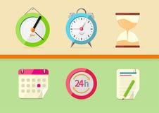 Iconos de hora y de la fecha Foto de archivo libre de regalías