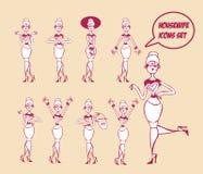Iconos de Housewifes fijados Imágenes de archivo libres de regalías
